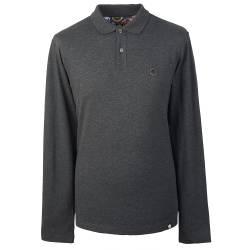 Dark Grey Marl  Long Sleeve Pique Polo Shirt