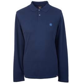 Navy Long Sleeve Pique Polo Shirt