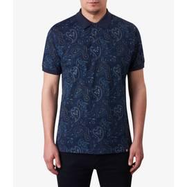 Navy  Paisley Print Polo Shirt