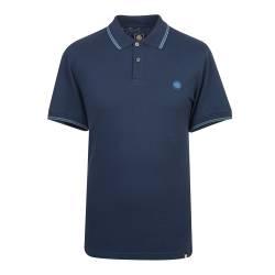 Navy  Tipped Pique Polo Shirt