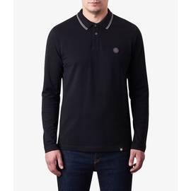 Black  Long Sleeve Tipped Pique Polo Shirt