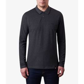Dark Grey Marl  Long Sleeve Tipped Pique Polo Shirt