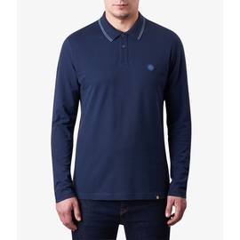 Navy  Long Sleeve Tipped Pique Polo Shirt