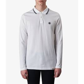 White  Long Sleeve Tipped Pique Polo Shirt