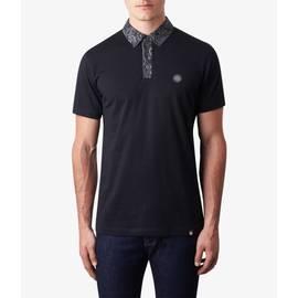Black  Paisley Print Collar Polo Shirt