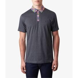 Dark Grey Marl  Paisley Print Collar Polo Shirt
