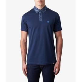 Navy  Paisley Print Collar Polo Shirt