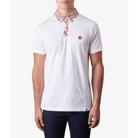 White  Paisley Print Collar Polo Shirt