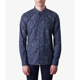 Navy  Slim Fit Paisley Print Shirt