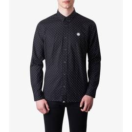 Black  Slim Fit Polka Dot Shirt