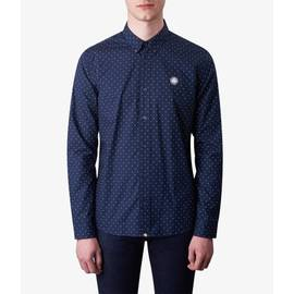 Navy  Slim Fit Polka Dot Shirt