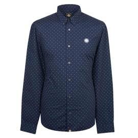 8758ceeb2f18e Navy Slim Fit Polka Dot Shirt