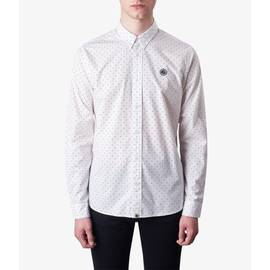 White  Slim Fit Polka Dot Shirt