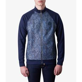 Navy  Paisley Print Track Top