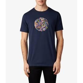 Navy Vintage  Paisley Print Logo T-Shirt