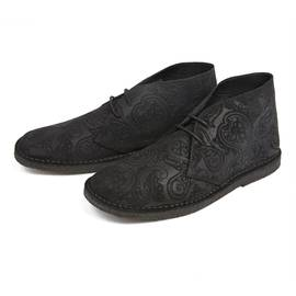 Black  Micro Paisley Embossed Suede Boot