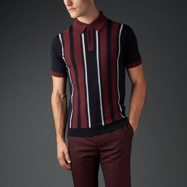 Mens Merino Striped Knitted Polo Shirt