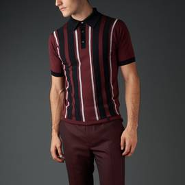 Burgundy  Merino Striped Knitted Polo Shirt