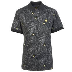Black  Smiley Paisley Print Polo Shirt