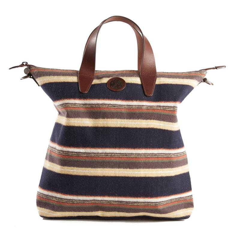 Mens Striped Brushed Cotton Tote Bag