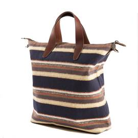 Navy  Striped Brushed Cotton Tote Bag