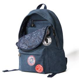 Navy  Washed Canvas Backpack With Badges