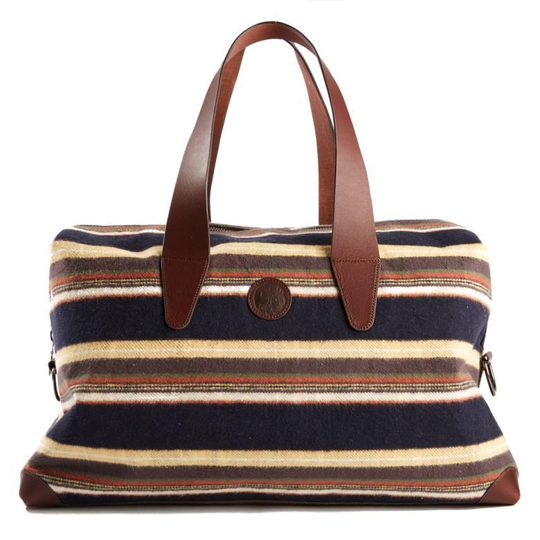 Mens Striped Brushed Cotton Weekend Bag
