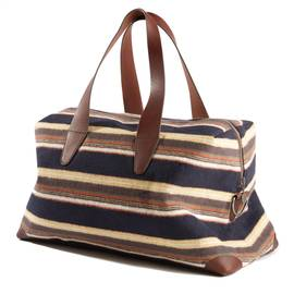 Navy  Striped Brushed Cotton Weekend Bag