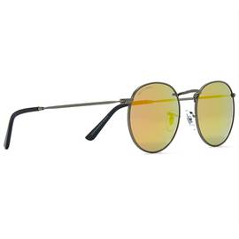 Red  Round Frame Metal Sunglasses