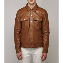 Tan  Button Up Leather Jacket