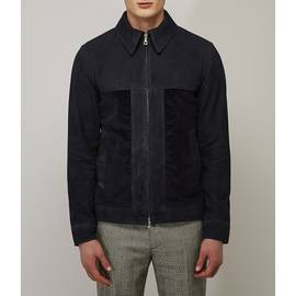 Navy  Contrast Suede And Cord Jacket