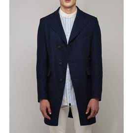 Navy  Single Breasted Button Up Coat
