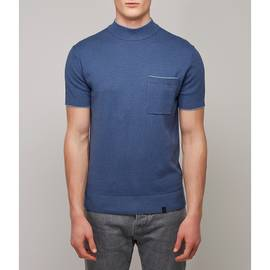 Blue Contrast Tipped High Neck Knitted T-Shirt