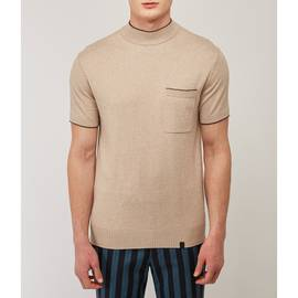 Stone Contrast Tipped High Neck Knitted T-Shirt