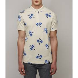 Stone  Pique Floral Print Polo Shirt