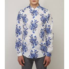White  Slim Fit Floral Print Shirt