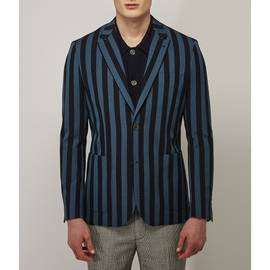 Navy  Striped Single Breasted Blazer