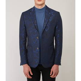 Navy  Jacquard Single Breasted Blazer