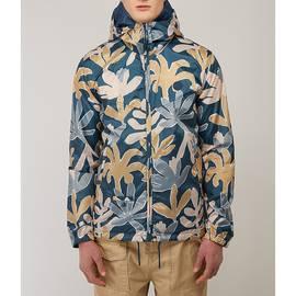Navy  Leaf Print Hooded Jacket