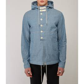 Blue  Overhead Hooded Chambray Jacket