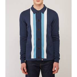 Navy  Striped Knitted Shirt