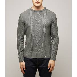 Grey  Fisherman Cable Knit Jumper
