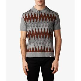 Grey  Geo Wave Knitted Polo Shirt