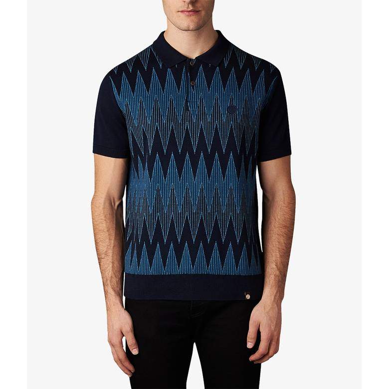 Mens Geo Wave Knitted Polo Shirt