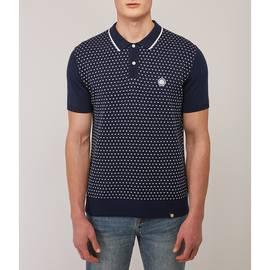 Navy  Birdseye Knitted Polo Shirt