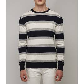 Blue  Striped Crew Neck Jumper