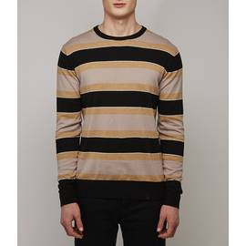 Brown  Striped Crew Neck Jumper
