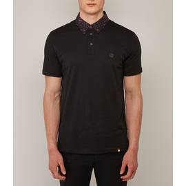 Black Spot Print Collar Polo Shirt