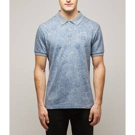 Blue  Jacquard Paisley Polo Shirt