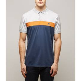 Navy  Colour Block Polo Shirt